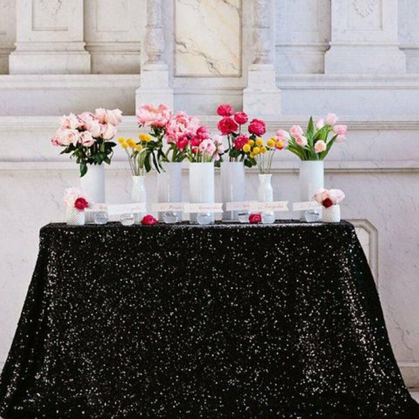 1.8x1.2m Sequin Table Cloth Backdrop Tablecover – Black
