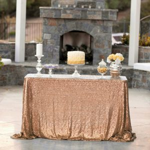 1.8x1.2m Sequin Table Cloth Backdrop Tablecover – Rose Gold