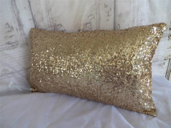 Exquisite Champagne Gold Sequins Oblong Rectangle Home Decor Cushion Cover