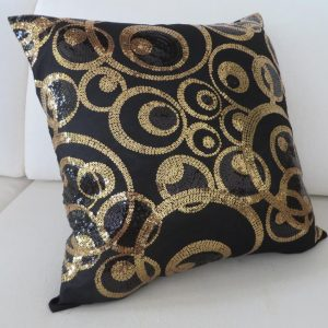 Gold and Black Sequins on Black Satin Bed Sofa Lounge Chaise Cushion Cover 45cm